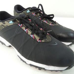 Nike Mens Lunar Fire Golf Shoes Cleats Black Camo